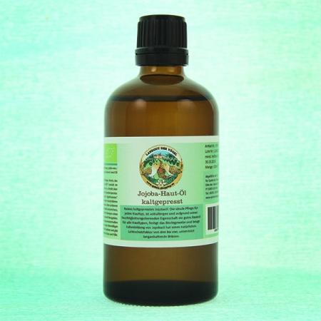 Jojoba-Haut-Öl, kaltgepresst. Kontrollierte Qualität 100ml Glasflasche