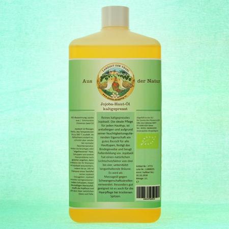 Jojoba-Haut-Öl, kaltgepresst. Kontrollierte Qualität 1000ml PET-Vorratsflasche