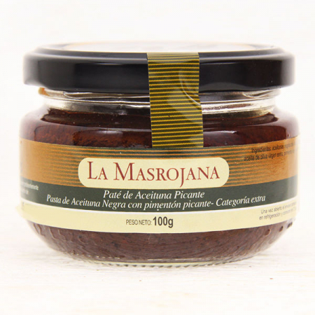 Olive paste, spicy, from black olives, 100g glass
