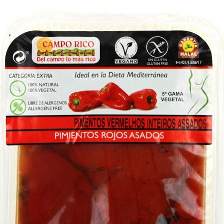 Paprika rot, ganz gegrillt und eingelegt, 500g Packung